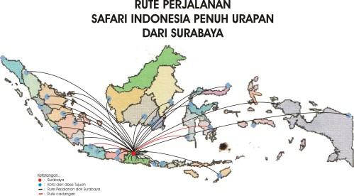 Rute perjalanan team SAFARI INDONESIA PRNUH URAPAN dari Surabaya.